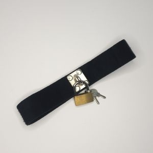 Black soft felt lock and key Velcro choker